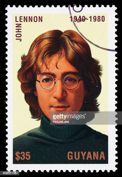 guyana john lennon postage stamp - john lennon stock pictures, royalty-free photos & images