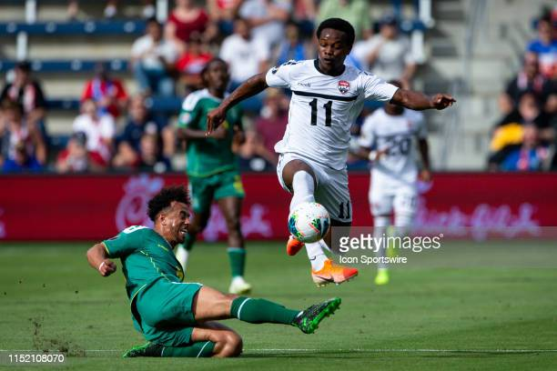 Guyana midfielder Callum Harriott drives forward during the CONCACAF Gold Cup match against the Trinidad and Tobago at Children's Mercy Park in...