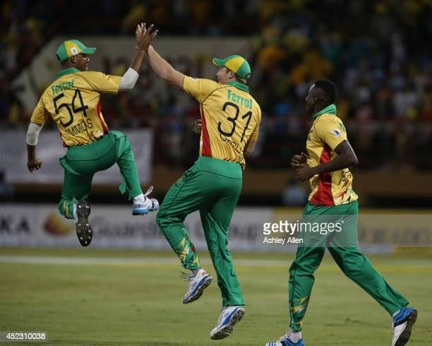 Guyana players celebrate during a match between Guyana Amazon Warriors and The Trinidad Tobago Red Steel as part of the week 2 of Caribbean Premier...