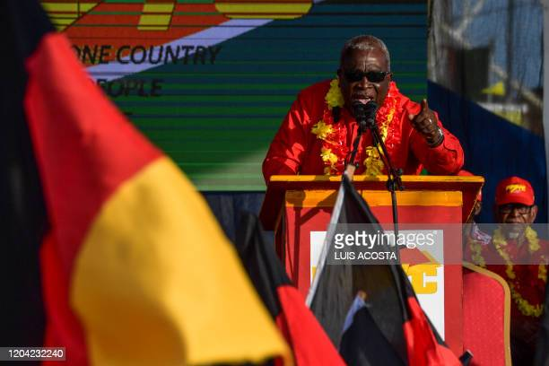 Guyana's candidate for prime minister for the People's Progressive Party Mark Phillips speaks during a campaign rally at Lusignan Guyana market...