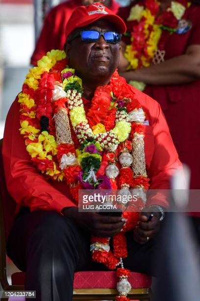 Guyana's candidate for prime minister for the People's Progressive Party Mark Phillips attends a campaign rally at Lusignan speaks during a campaign...