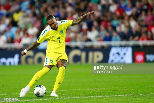 Guyana's midfielder Keanu MarshBrown dribbles the ball during the 2019 CONCACAF Gold Cup Group D match between USA and Guyana on June 18 2019 at...
