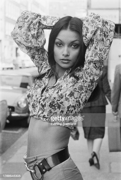 Guyanese actress and fashion model Shakira Baksh, the partner and later wife of actor Michael Caine, UK, September 1971.