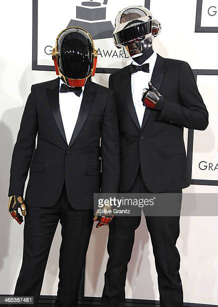 GuyManuel de HomemChristo and Thomas Bangalter arrivals at the 56th GRAMMY Awards on January 26 2014 in Los Angeles California