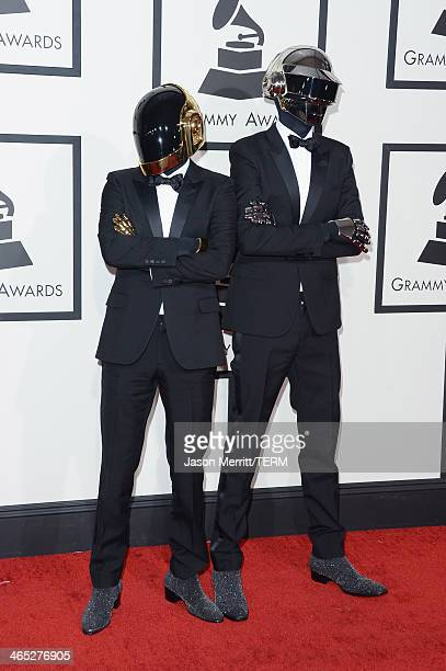 GuyManuel de HomemChristo and Thomas Bangalter of Daft Punk attend the 56th GRAMMY Awards at Staples Center on January 26 2014 in Los Angeles...