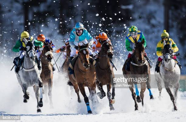 Guyon Maxime riding Take a Guess leads the pack in the GP Longines flat race during the White Turf Horse Racing on February 19 2017 in St Moritz...