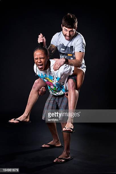 Guys fighting