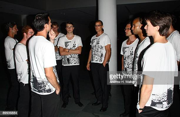 Guys wearing the Fashion's Night Out shirts during the after party for the New York special screening of The September Issue at The Museum of Modern...