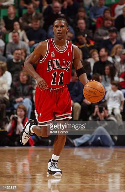 J Guyton of the Chicago Bulls dribbles upcourt against the Utah Jazz at the Delta Center in Salt Lake City Utah DIGITAL IMAGE NOTE TO USER User...