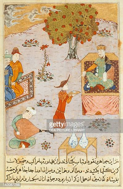 Guyuk Khan on a throne in a garden with a maid offering a plate and a lute player, Persian manuscript, manuscript 206, folio 140, verso.
