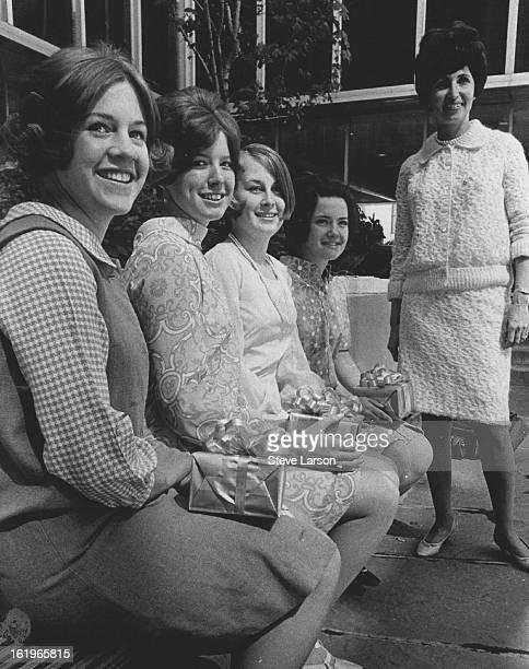 APR 28 1968 MAY 2 1968 MAY 5 1968 Guzofsky Harold Mrs Winners of Denver Area Panhellenic scholarships from left Judith Hiatt Patricia Appelhaus Mary...