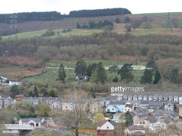 Gv of the Aberfan cemetery where the 116 pupils and 28 adults were laid to rest after Pantglas Junior School disaster Mining spoil engulfed the...