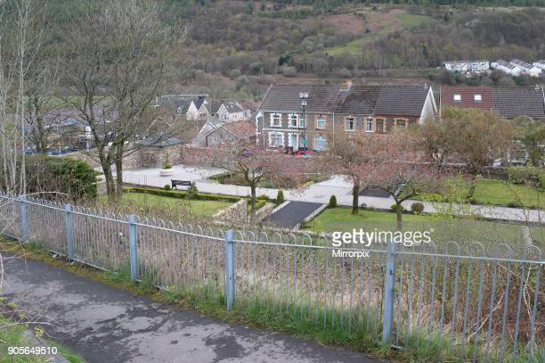 Gv of the memorial garden on the site of the Pantglas Junior School in the village of Aberfan South Wales 116 pupils and 28 adults were killed when...