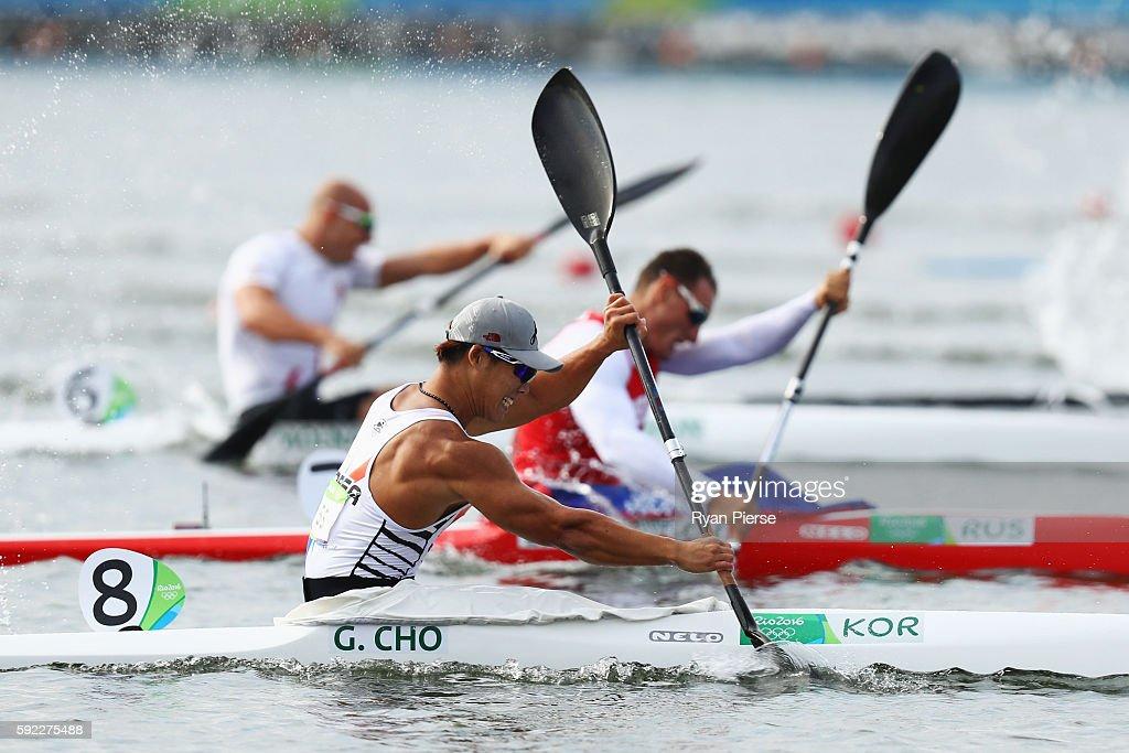 Gwanghee Cho of Korea competes in the Men's Kayak Single