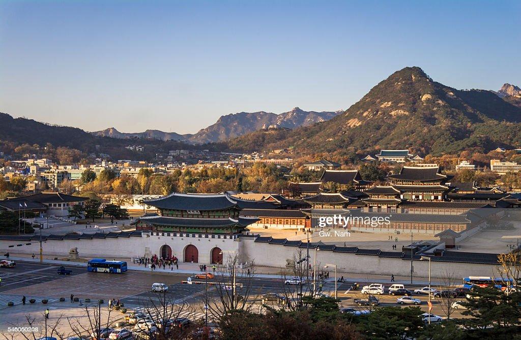 Gwanghwamun Gate and Gyeongbokgung Palace : Stock Photo