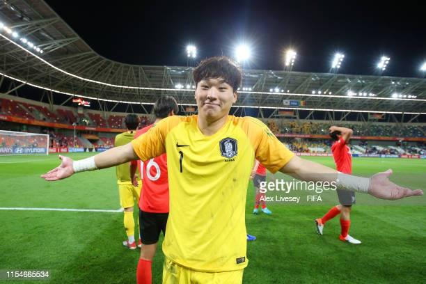 Gwangyeon Lee of Korea Republic celebrates victory after the 2019 FIFA U20 World Cup Quarter Final match between Korea Republic and Senegal at...