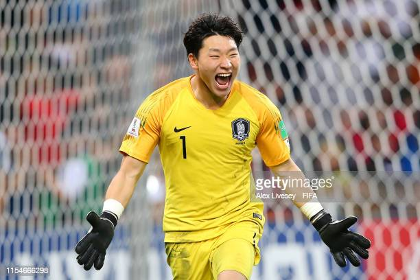 Gwangyeon Lee of Korea Republic celebrates victory in the penalty shoot out during the 2019 FIFA U20 World Cup Quarter Final match between Korea...