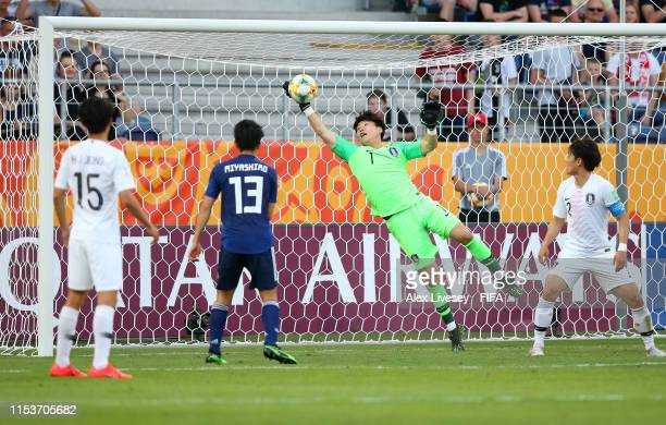 Gwangyeon Lee of Korea Republic makes a save during the 2019 FIFA U20 World Cup Round of 16 match between Japan and Korea Republic at Arena Lublin on...