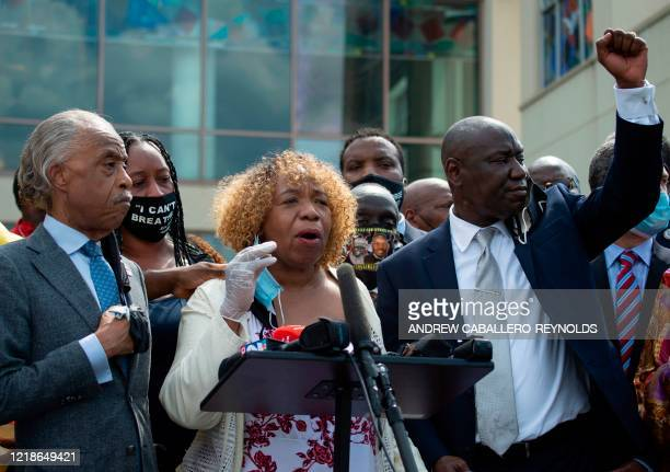Gwen Carr Eric Garner's mother speaks alongside Reverend Al Sharpton Floyd family attorney Ben Crump and members of the Floyd family outside the...
