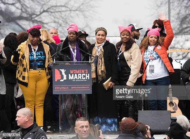Gwen Carr Lucia McBath and Sybrina Fulton attend the Women's March on Washington on January 21 2017 in Washington DC