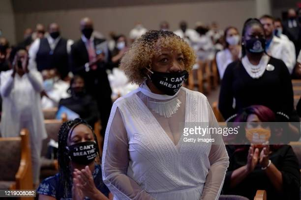 Gwen Carr, mother of Eric Garner, attends the funeral service for George Floyd in the chapel at the Fountain of Praise church June 9, 2020 in...