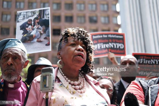 Gwen Carr mother of Eric Garner joins others during a news conference outside of Police Headquarters in Manhattan to protest during the police...