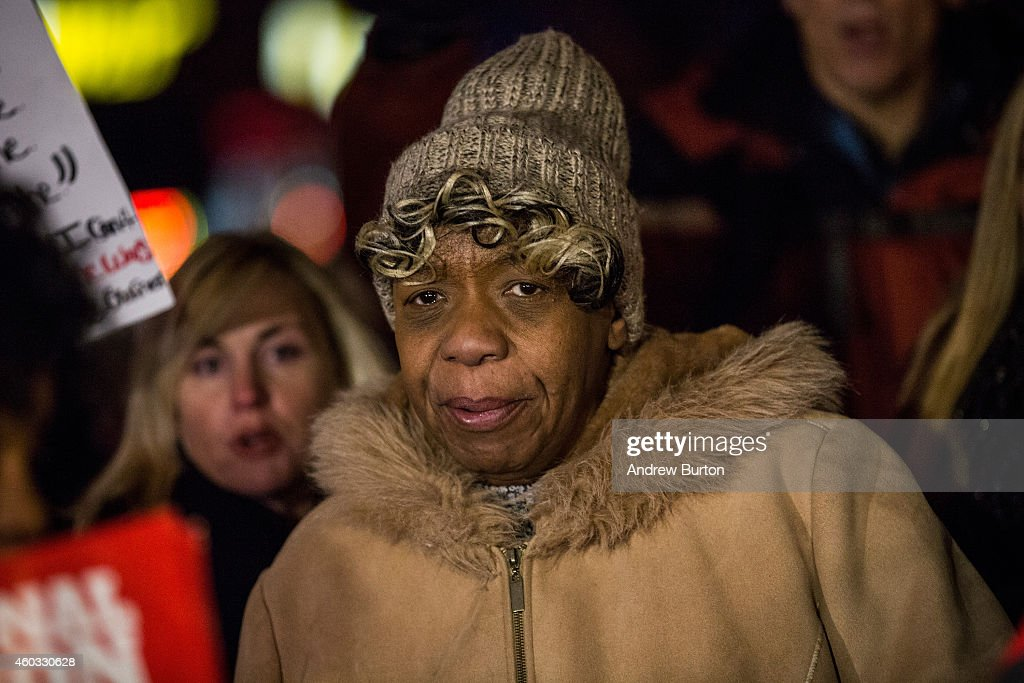 Gwen Carr, mother of Eric Garner, marches with people protesting the Staten Island, New York grand jury's decision not to indict a police officer involved in the chokehold death of Eric Garner in July, on December 11, 2014 in the Staten Island Neighborhood of New York City. Protests have continued throughout the country since the Grand Jury's decision was announced last week.