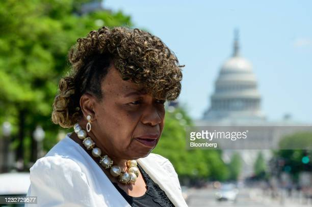 """Gwen Carr, mother of Eric Garner, pauses while speaking during a """"Hear the Cry"""" rally at Freedom Plaza near the U.S. Capitol in Washington, D.C.,..."""