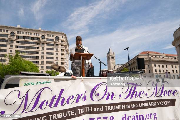"""Gwen Carr, mother of Eric Garner, speaks during a """"Hear the Cry"""" rally at Freedom Plaza in Washington, D.C., U.S., on Thursday, May 6, 2021. The..."""