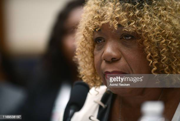 Gwen Carr mother of Eric Garner testifies before the House Judiciary Committee on policing practices in the United States on September 19 2019 in...