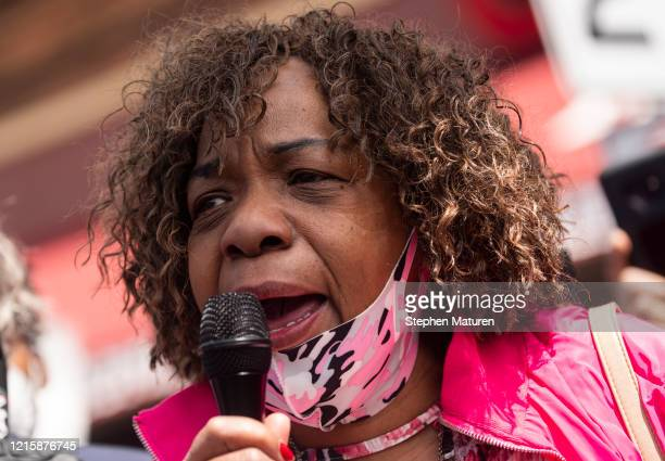 Gwen Carr the mother of Eric Garner speaks to a group of people gathered outside the Cup Foods where George Floyd was killed in police custody on May...