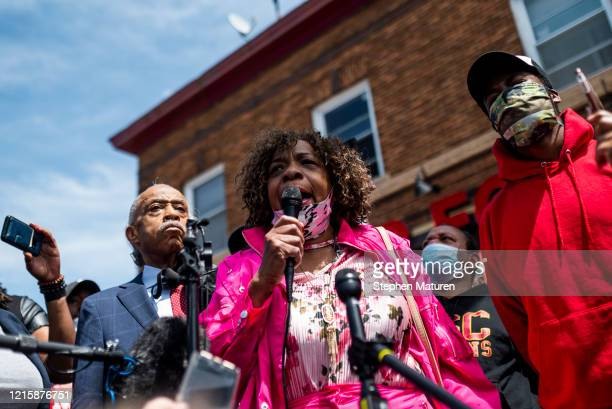 Gwen Carr the mother of Eric Garner speaks to a group of people gathered outside the Cup Foods where George Floyd died while in police custody on May...