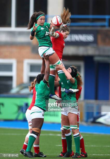 Gwen Crabb of Wales and Nichola Fryday of Ireland compete for a lineout during the Women's Six Nations match between Wales and Ireland at Cardiff...