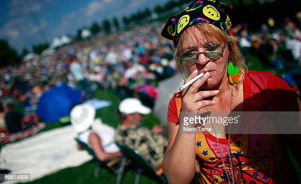 Gwen Delgado looks on before the start of the concert marking the 40th anniversary of the Woodstock music festival August 15 2009 in Bethel New York...