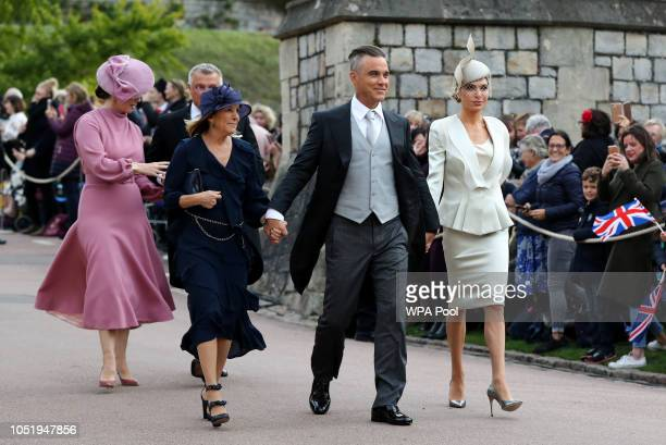 Gwen Field Robbie Williams and Ayda Field arrive ahead of the wedding of Princess Eugenie of York to Jack Brooksbank at Windsor Castle on October 12...