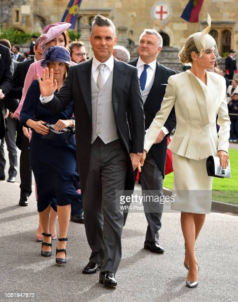 Gwen Field Robbie Williams and Ayda Field arrive ahead of the wedding of Princess Eugenie of York and Mr Jack Brooksbank at St George's Chapel on...