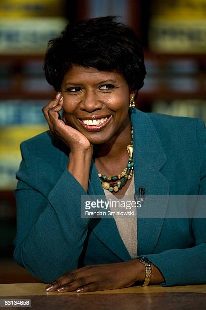 Gwen Ifill of PBS watches a clip of Saturday Night Live during a live taping of Meet the Press from NBC October 5 2008 in Washington DC Democratic...