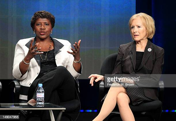 Gwen Ifill Washington Week PBS NewsHour and Judy Woodruff PBS NewsHour speak onstage at the 'PBS Election Coverage' panel during day 2 of the PBS...
