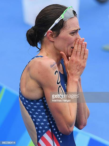 Gwen Jorgensen of the United States shows her emotions as she wins gold during the Women's Triathlon on Day 15 of the Rio 2016 Olympic Games at Fort...