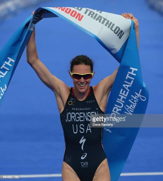 ce239cc6e37a6 Gwen Jorgensen of USA crosses the finish line to win the Elite Women s  PruHealth World Triathlon