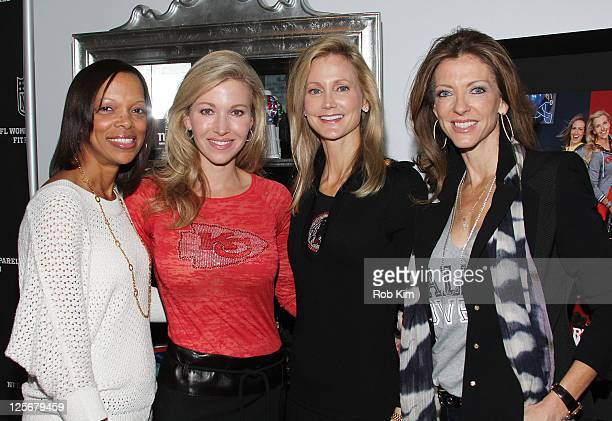 Gwen Reese Tavia Hunt Tanya Snyder and Charlotte Jones Anderson visit the NFL Style Suite at the Bryant Park Hotel on September 20 2011 in New York...