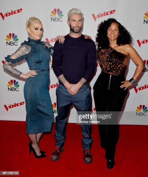 Gwen Stefani Adam Levine and Alicia Keys attend 'The Voice' Season 12 coaches red carpet at Universal Studios Hollywood on May 8 2017 in Universal...