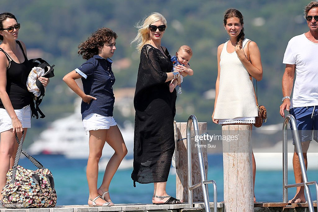 Gwen Stefani and baby Apollo at 'club 55' on August 1, 2014 in Saint-Tropez, France.