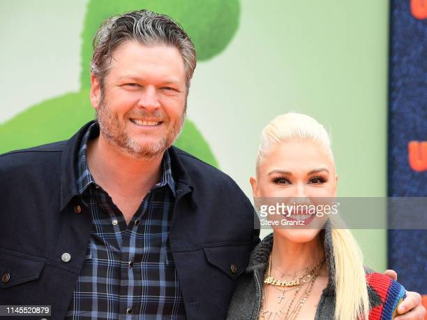 "Gwen Stefani and Blake Shelton arrive at the STX Films World Premiere Of ""UglyDolls"" at Regal Cinemas L.A. Live on April 27, 2019 in Los Angeles,..."