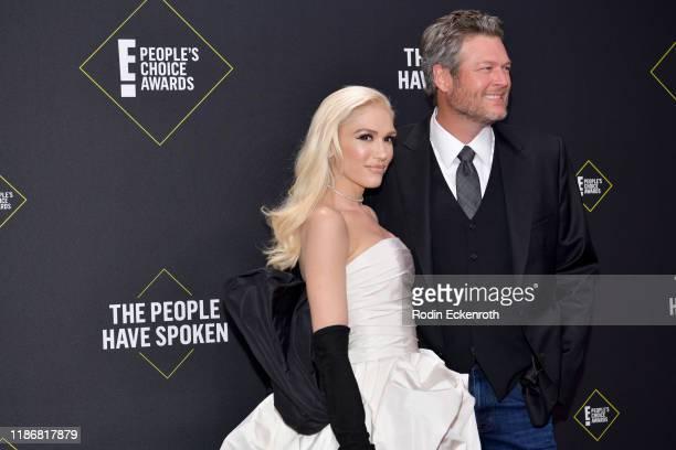Gwen Stefani and Blake Shelton attend the 2019 E People's Choice Awards at Barker Hangar on November 10 2019 in Santa Monica California