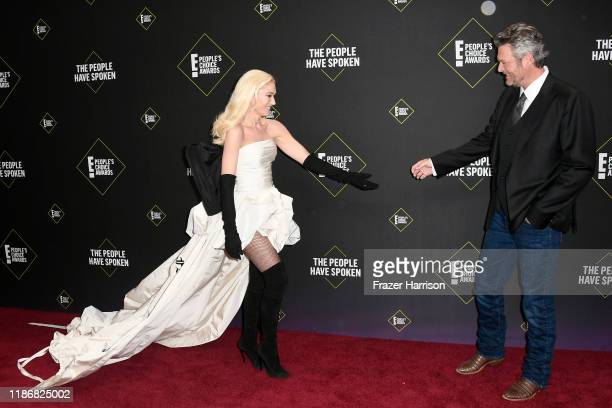 Gwen Stefani and Blake Shelton attend the 2019 E People's Choice Awards at Barker Hangar on November 10 2019 in Santa Monica California