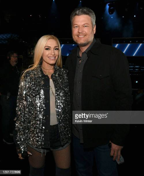 Gwen Stefani and Blake Shelton pose in the audience during the 62nd Annual GRAMMY Awards at STAPLES Center on January 24, 2020 in Los Angeles,...