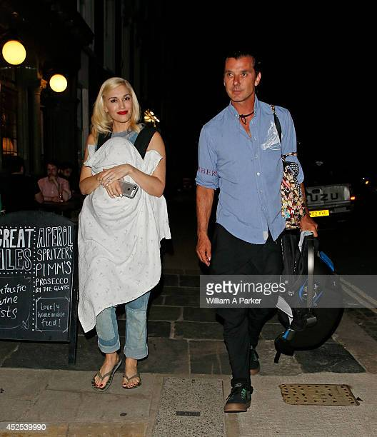 Gwen Stefani and Gavin Rossdale are seen leaving La Collina after having dinner on July 22 2014 in London England