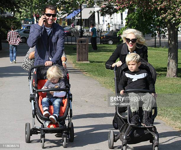 Gwen Stefani and Gavin Rossdale seen walking with their children in Primrose Hill on May 4 2011 in London England