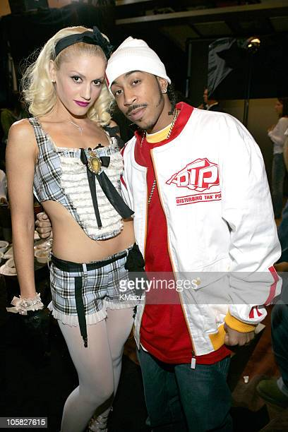 Gwen Stefani and Ludacris during Gwen Stefani and Ludacris Visit MTV's 'TRL' November 12 2004 at MTV Studios Times Square in New York City New York...